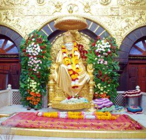 Idol of Shri Saibaba in the temple of Shirdi